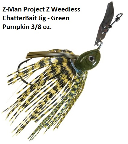 Z-Man Project Z Weedless ChatterBait Jig Green Pumpkin 3 8 oz