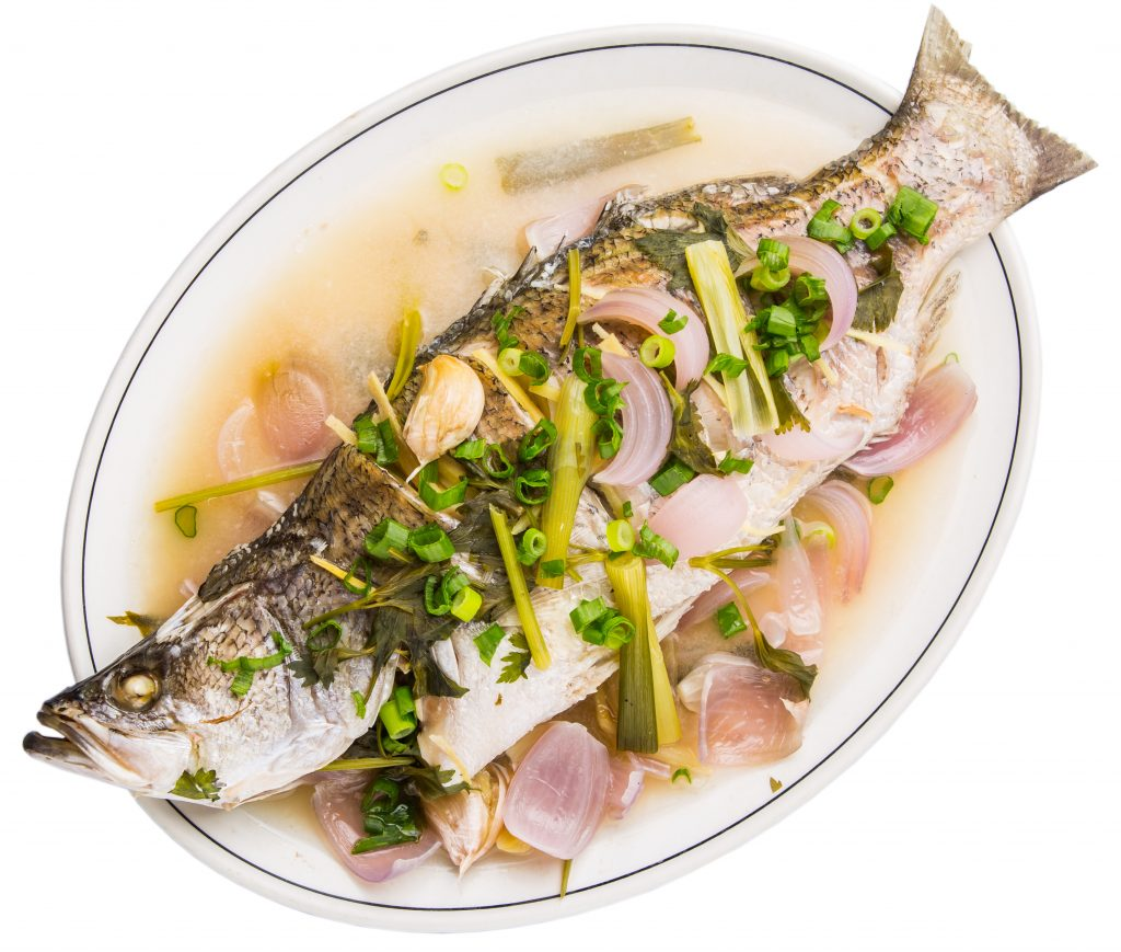asian bass fish steamed