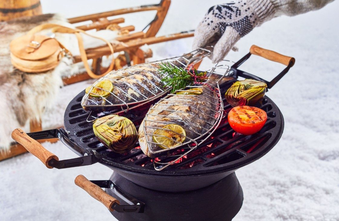 Winter Outdoor Ice Fishing Grilling Cooking